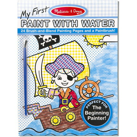 Melissa & Doug My First Paint with Water Kids' Art Pad with Paintbrush, Pirates, Space, Construction, and More