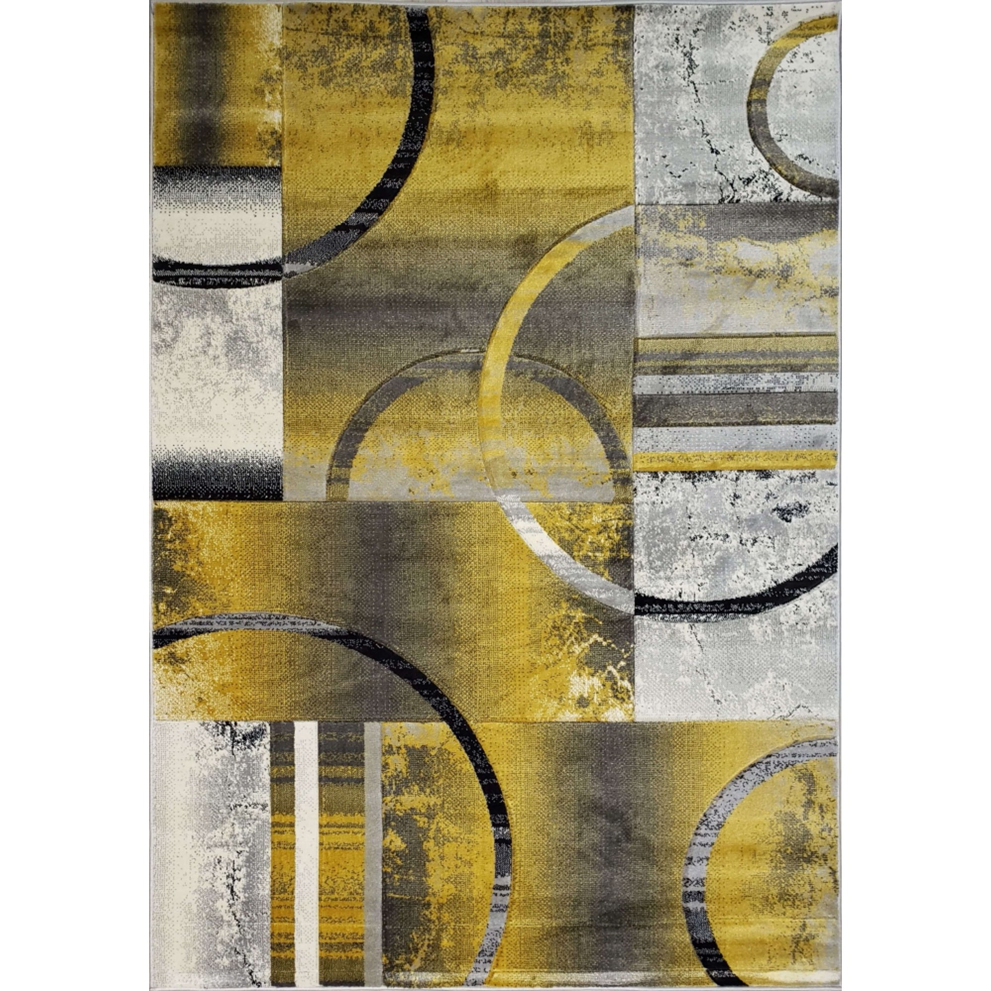 Ladole Rugs Golden Mustard Yellow And Black Modern Geometric Area