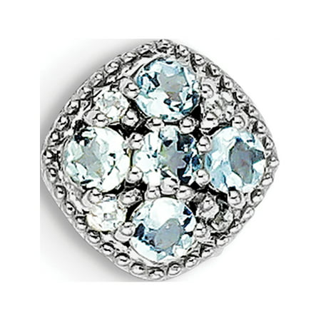 925 Sterling Silver Rhodium Plated Aquamarine Square Slide (11x11mm) Pendant / Charm - image 1 of 2