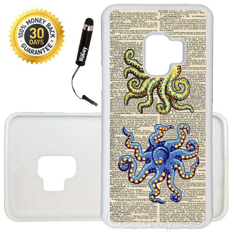 Custom Galaxy S9 Case (Vintage Octopus Blue Yellow) Edge-to-Edge Rubber White Cover Ultra Slim | Lightweight | Includes Stylus Pen by Innosub