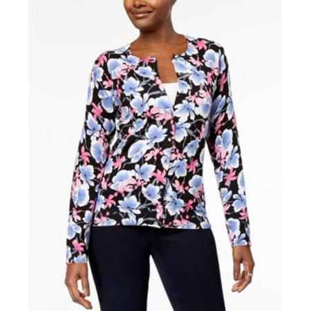 Karen Scott Women's Floral Print Cardigan Size S Deep Black Combo