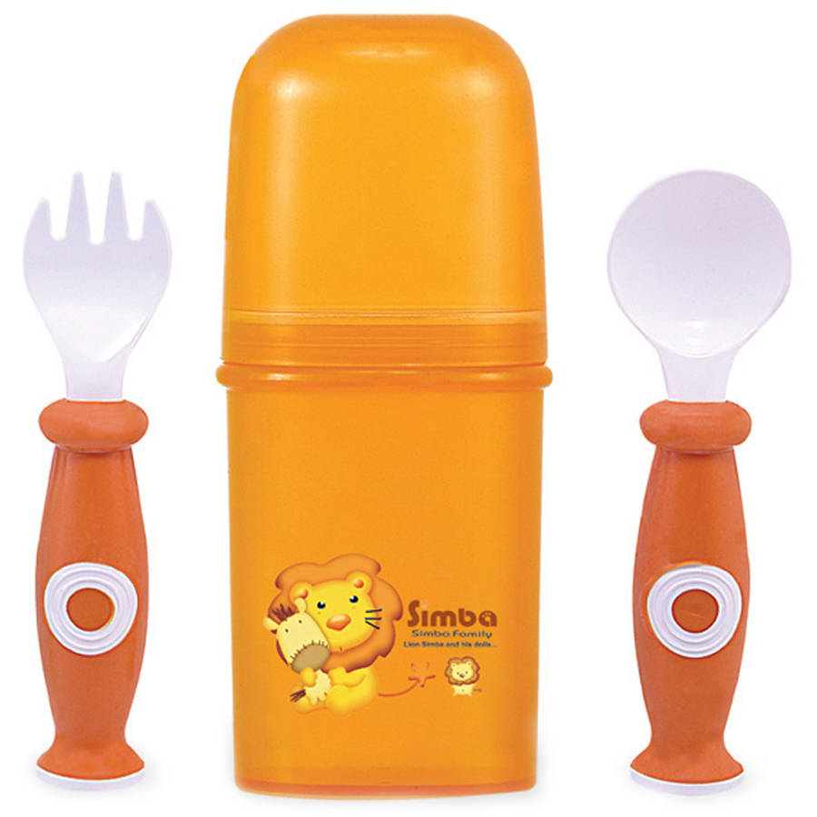 Simba P3340-O Fork and Spoon Set, BPA-Free, Orange