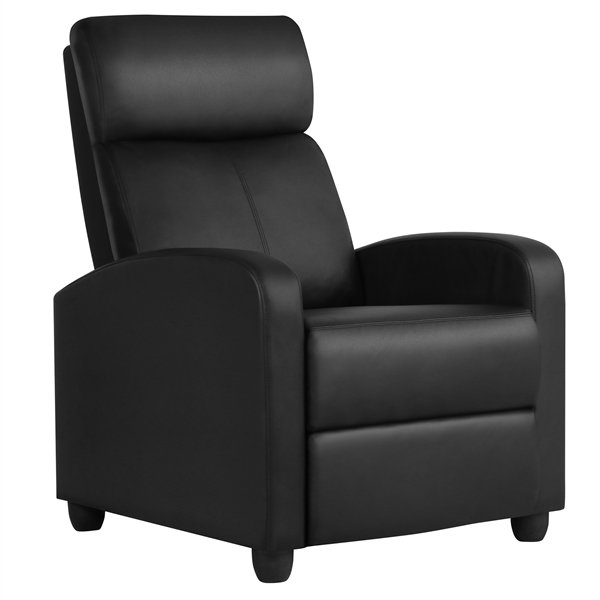 Theater Recliner with Footrest, Black Faux Leather