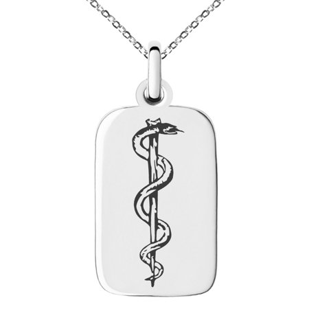 Diamond Dog Tag Pendant (Stainless Steel Rod of Asclepius Engraved Small Rectangle Dog Tag Charm Pendant Necklace )