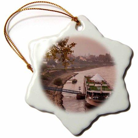 3dRose Germany, Rhineland-Pfalz, Speyer, Rhine River cruise boat, dusk - Snowflake Ornament,