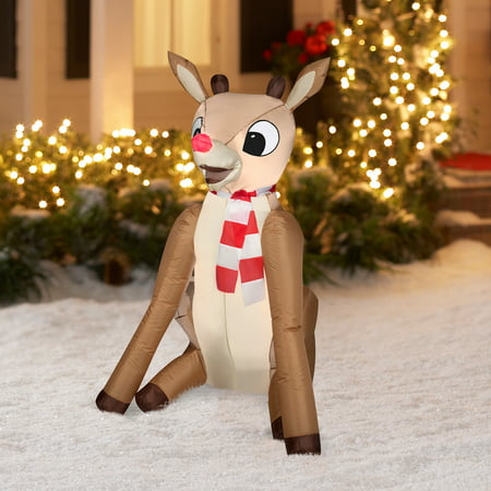 gemmy airblown christmas inflatables 4 rudolph prop decoration - Rudolph Christmas Decorations