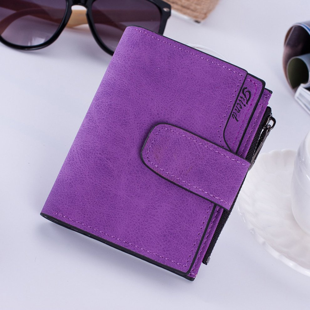 Vintage Design Zipper Hasp Wallet Women Leather Female Purse Lady Matte Clutch