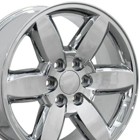 20 Inch Fits Chevy Silverado Tahoe GMC Sierra Yukon Cadillac Escalade CV94 Chrome 20x8.5 Rim Hollander (Escalade Chrome Visor)