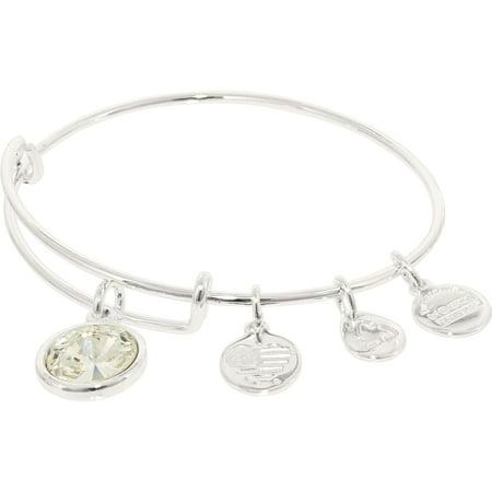 Alex And Ani Womens Crystal Birthstone April Crystal Shiny Silver Cubic Zirconia Charm Bracelet   8