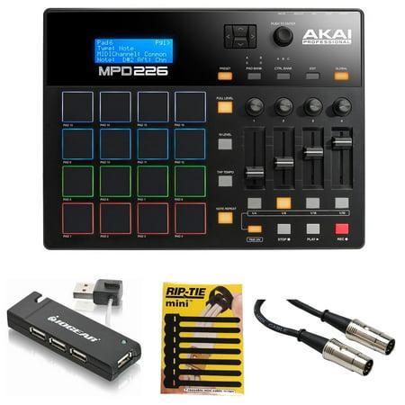 Pad Hub (Akai MPD226 MIDI USB Pad Drum Beat Controller + 4 Port USB Hub + Cable & Ties )