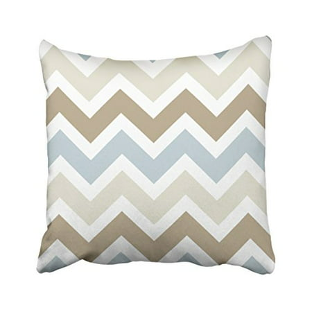 WinHome Decorative Smoky Blue Gray, Tan, and Brown Chevron Pattern Throw Pillow Covers Size 18x18 inches Two Side