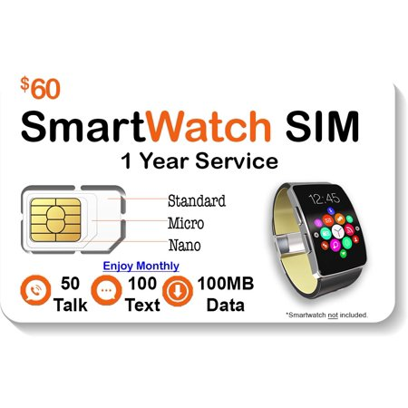 $60 Smart Watch SIM Card - Compatible with 2G 3G 4G LTE GSM Smartwatches and Wearables - 1 Year Service - USA Canada & Mexico Roaming ()