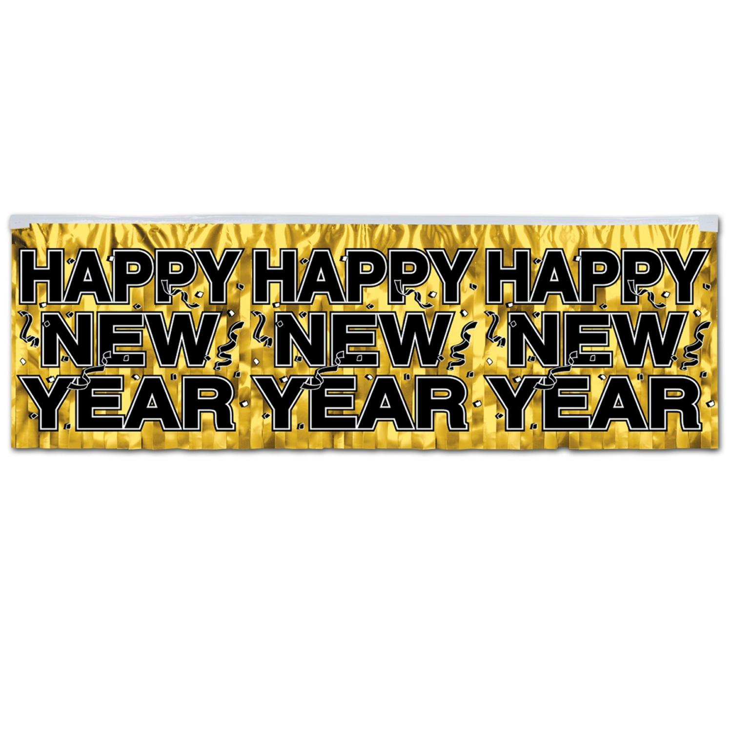 Club Pack of 12 Gold and Black Metallic Happy New Year Fringe Party Decoration Banner 4'