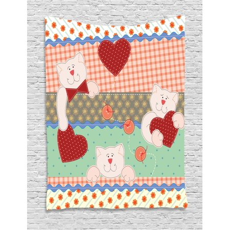 Patchwork Bear (Shabby Chic Decor Tapestry, Funny Teddy Bears with Hearts Patchwork Style Cute Kids Playroom Print, Wall Hanging for Bedroom Living Room Dorm Decor, 40W X 60L Inches, Multicolor, by)