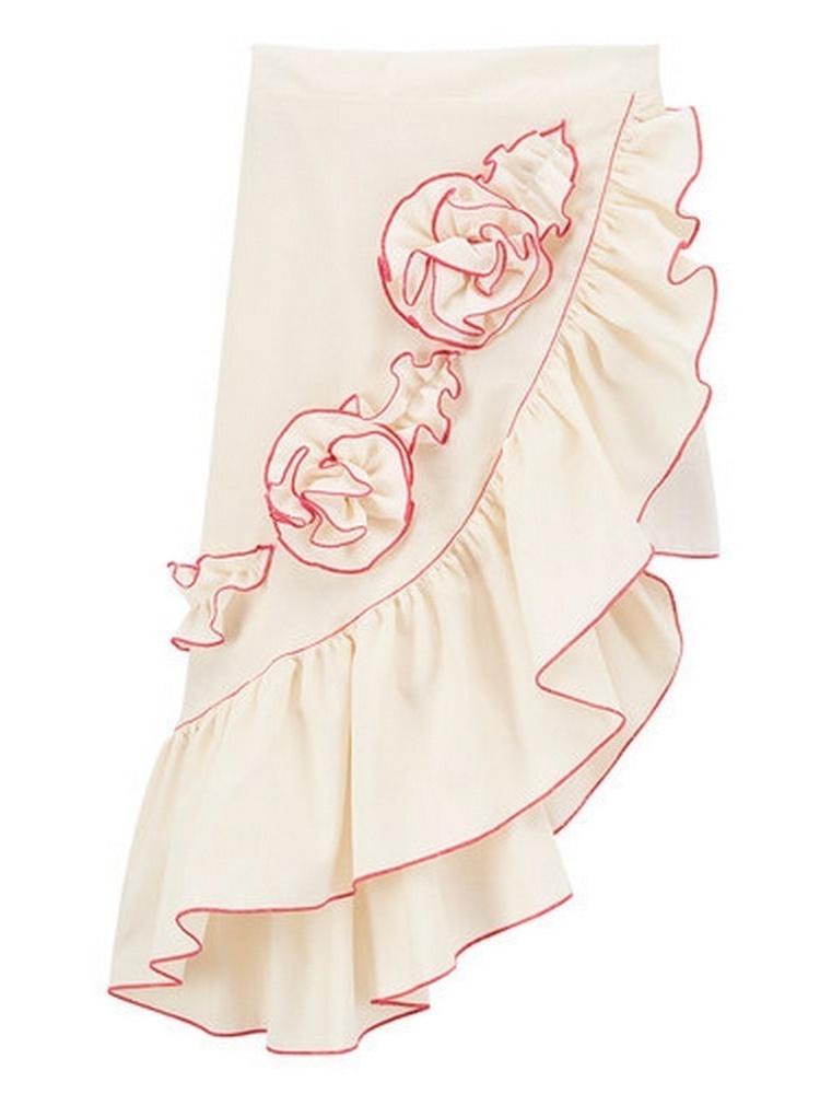 Baby Girls Ivory Fuchsia Rosette Accent Asymmetric Hem Ruffle Skirt 1T