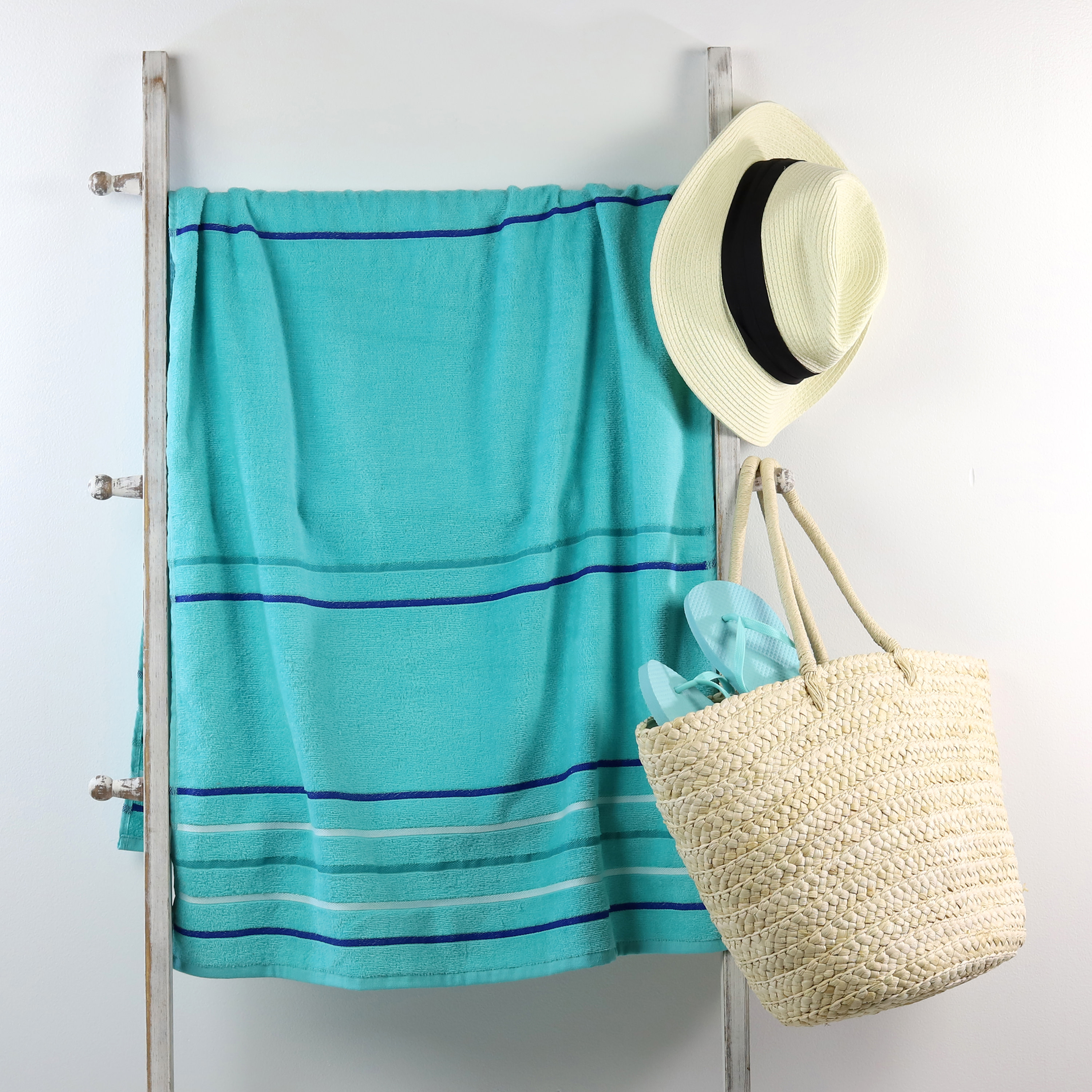 Mainstays Beach Towel, Teal Multi-stripe