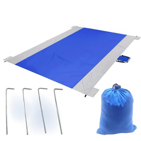 Elegantoss Water Resistant Picnic Mat Sand Proof Beach Blanket Mat Quick Dry Parachute Nylon Pocket Blanket with 4 Stakes for Picnic, Camping, Hiking, Travel (Size 96x57 -