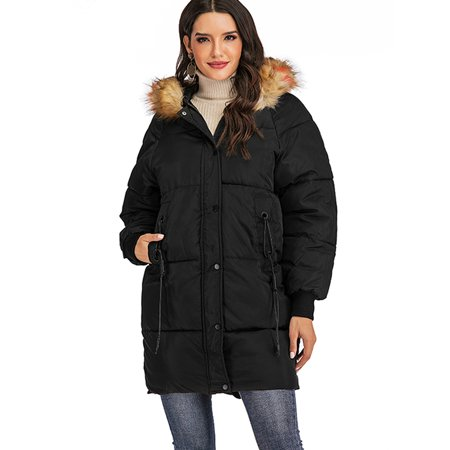 Women's Thickened Parka Coat with Removable Faux Fur Hood Collar Long Heavy Puffer Jacket Outdoor Plus Size Winter Coats Black L-3xl Black Polyester Parka