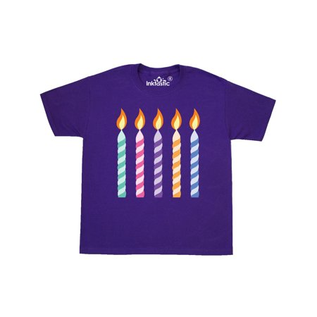 5th Birthday Candles 5 Year Old Party Youth T-Shirt