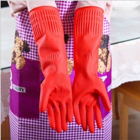 Kitchen Rubber Latex Cleaning Gloves, Household Kitchen Wash Dishes Cleaning Waterproof Long Sleeve Rubber Latex Gloves
