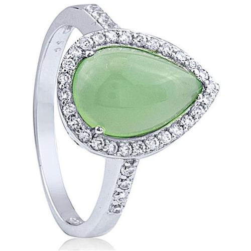Doma Jewellery SSRJ0076 Sterling Silver And Jade Ring, Size 6