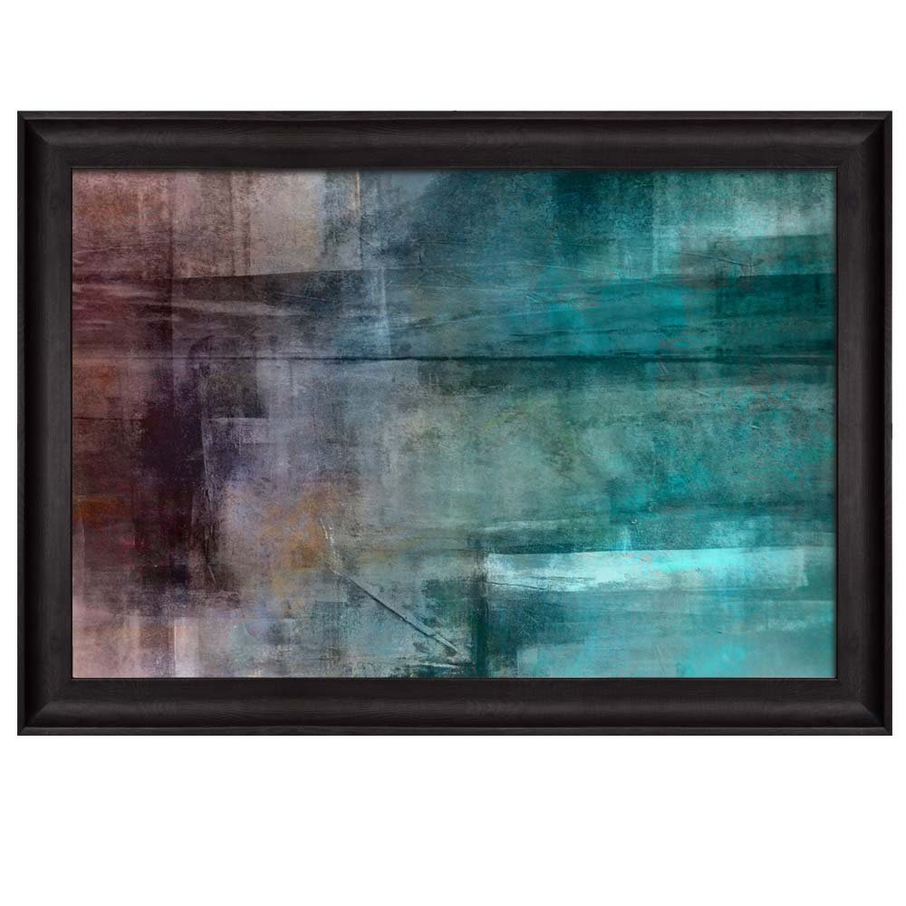 wall26 - Shades of Blue and Gray Abstract Painting Placed in an Elegant Wooden Black Frame - Framed Art Prints, Home Decor - 16x24 inches