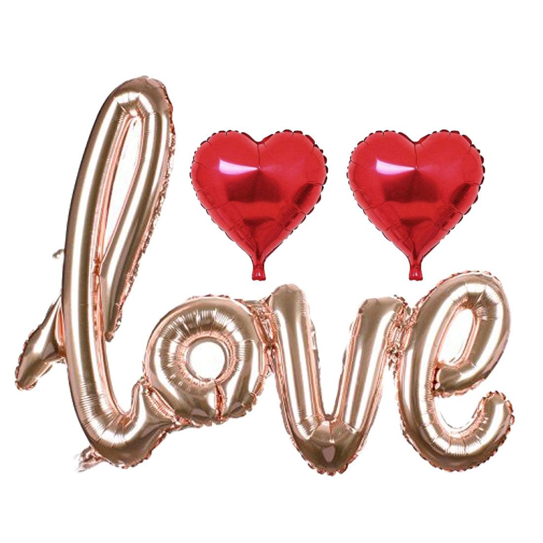 Unique Bargains Foil LOVE Heart Balloon Wedding Anniversary Decor Rose Gold Red