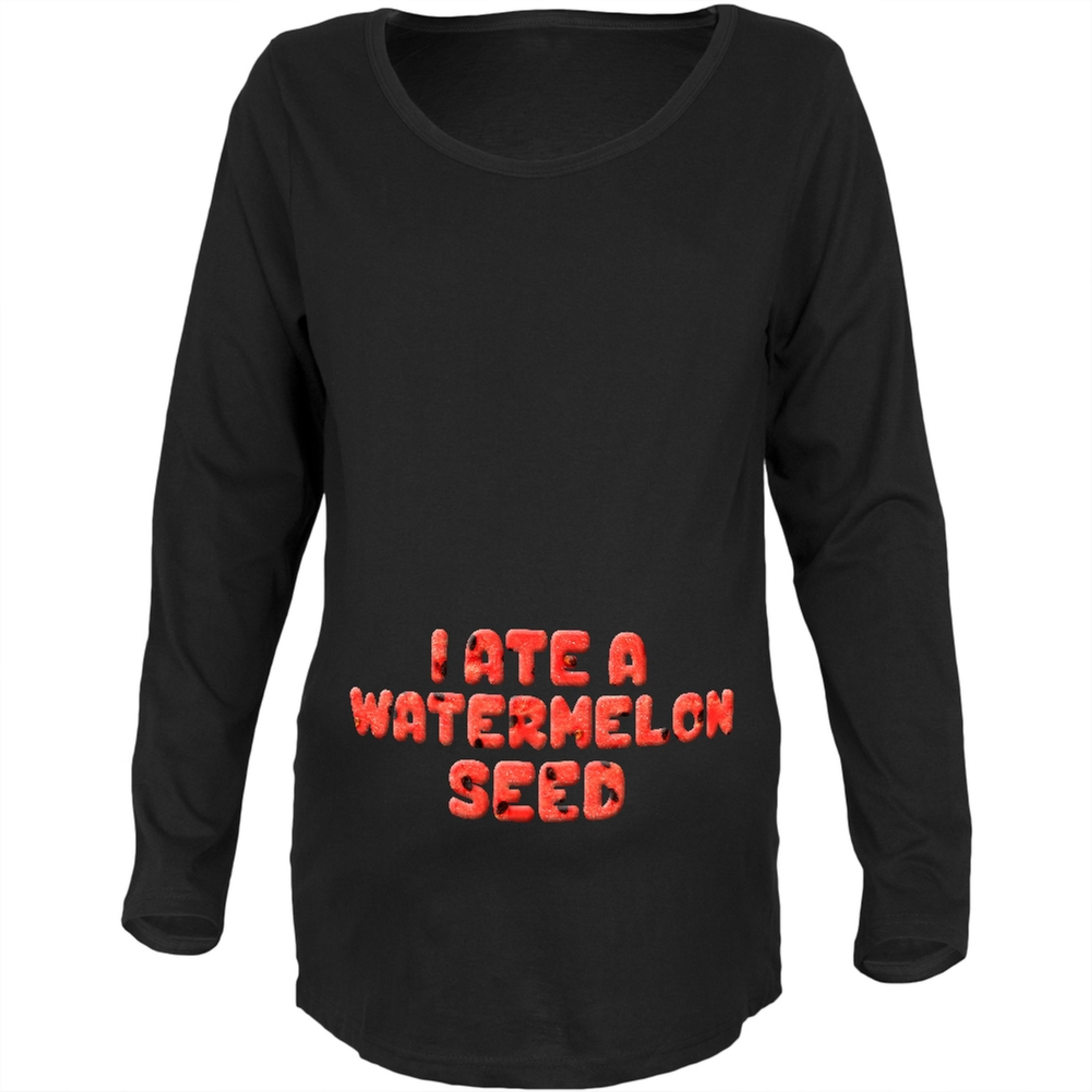 Watermelon Seed Black Maternity Soft Long Sleeve T-Shirt