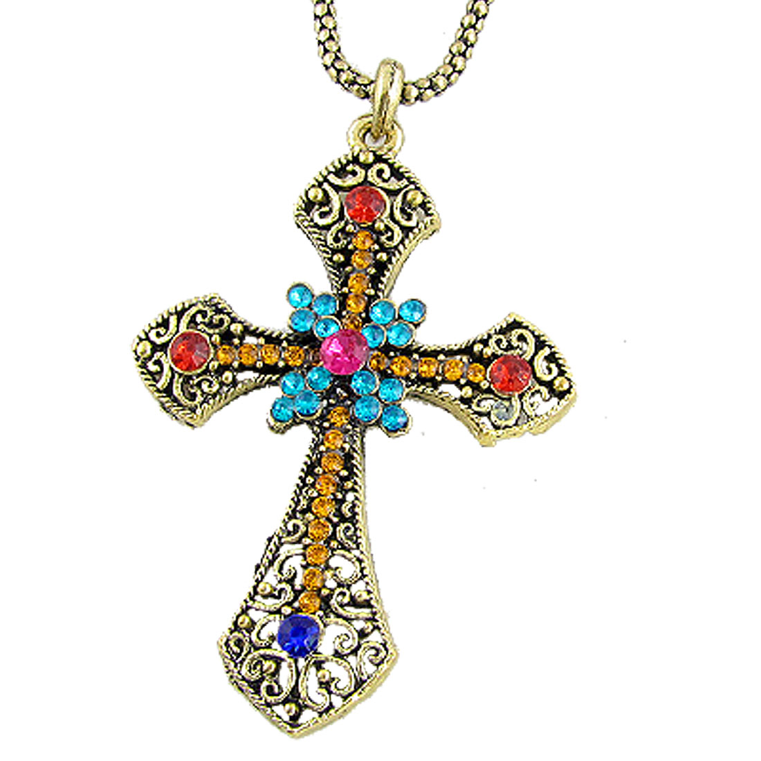 Women Rhinestone Hollow Out Cross Retro Alloy Necklace Bronze Tone