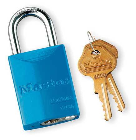 """Lockout Padlock,KA,Blue,1-7/8""""H MASTER LOCK 6835KABLU10G505"""