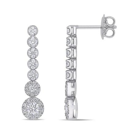 Miabella 1 Carat T.W. Diamond 14kt White Gold Graduated Circle Drop Earrings