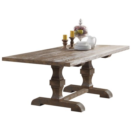 ACME Inverness Dining Table with Double Pedestal , Salvage Oak. (Chairs & Banquette Bench Separately)