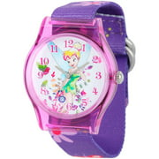 Tinker Bell Girls' Plastic Case Watch, Printed Stretch Nylon Strap