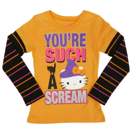 Hello Kitty Halloween T Shirt (Hello Kitty Girls Orange You're Such A Scream Halloween)