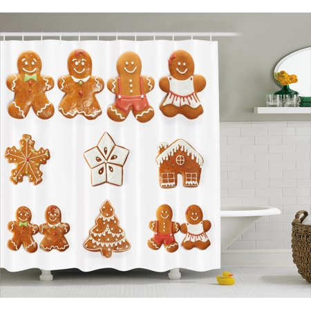 Gingerbread Man Shower Curtain Vivid Cute Christmas Biscuits Set Snowflake House Tree Fabric Bathroom With Hooks Pale Brown White