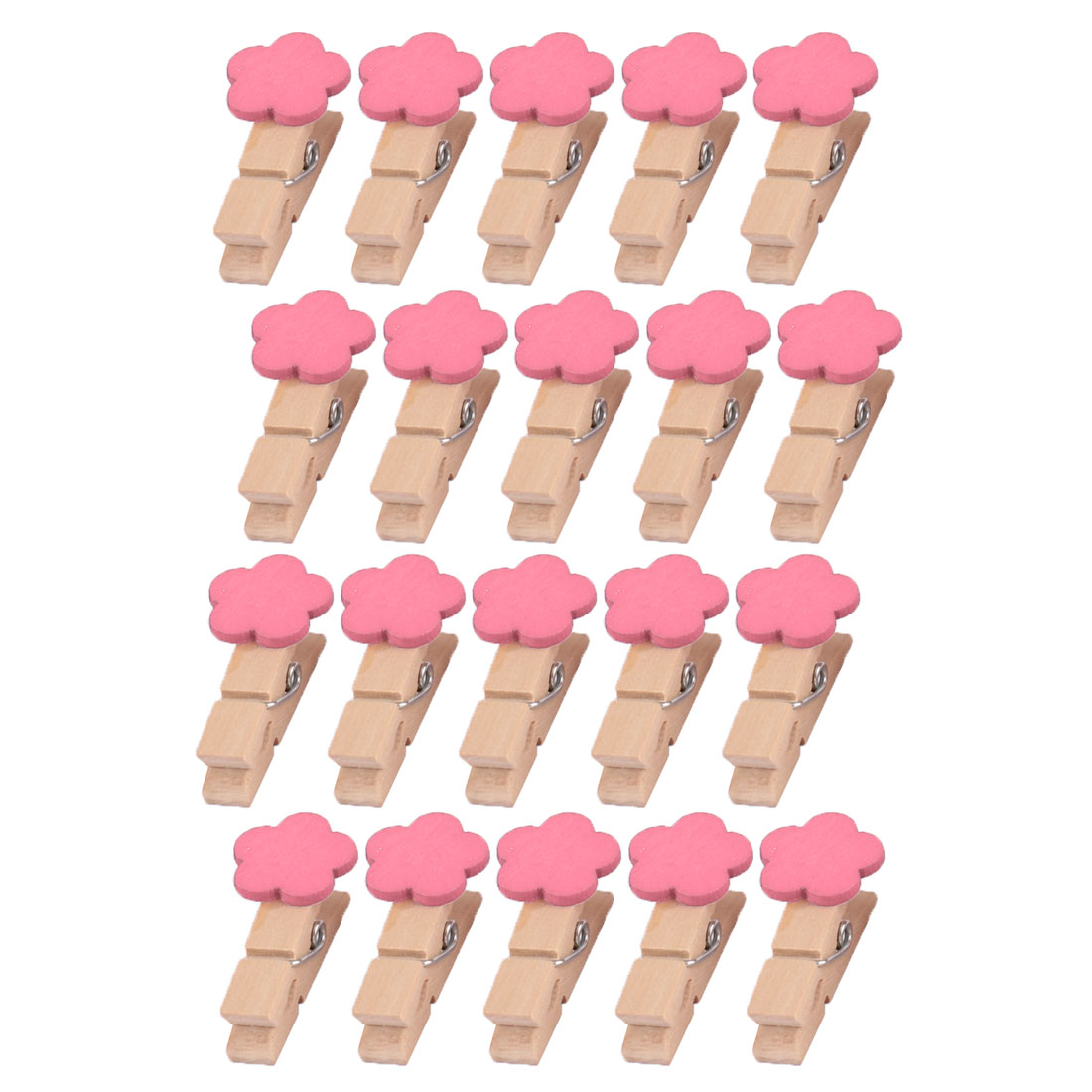 Wooden Flower Shaped DIY Decoration Picture Photo Painting Clip Pink 20 Pcs