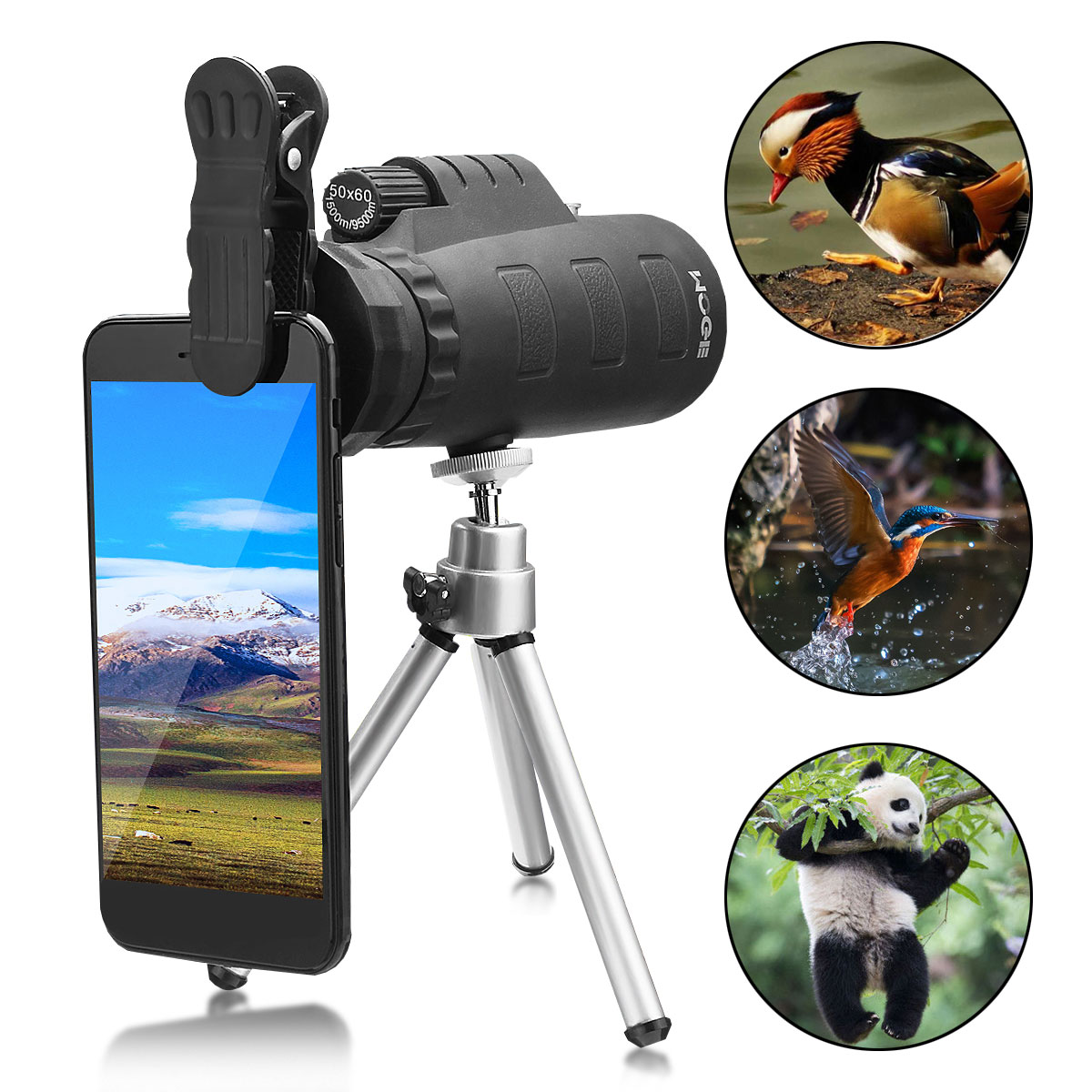 50X HD Zoom Night Vision Cellphone Monocular Telescope Hunting Camping + Clip + Tripod For Mobile Phone Smartphone Outdoor Sporting