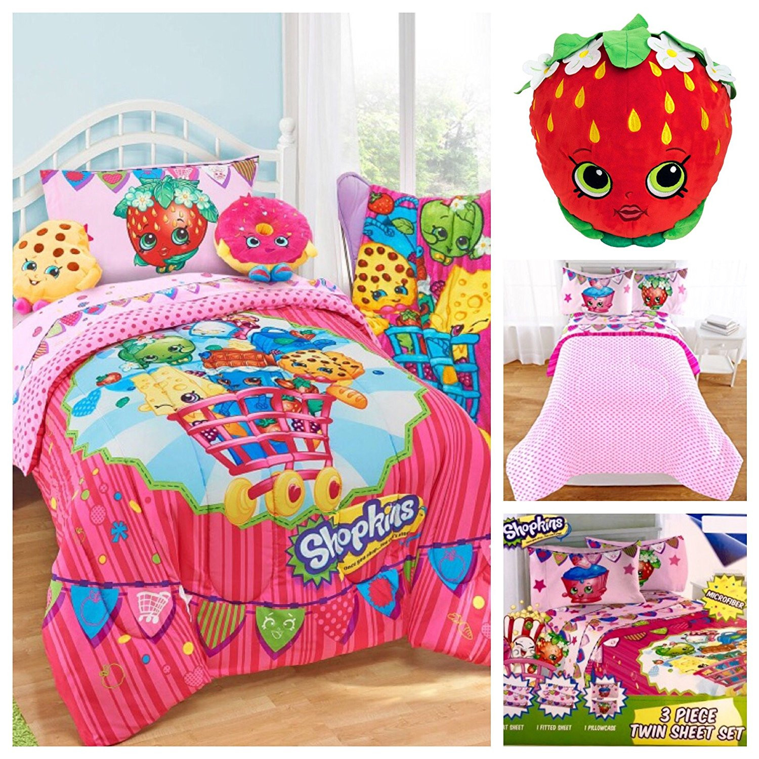 Shopkins Kids 5 Piece Bed in a Bag Twin Bedding Set Reversible Comforter, Microfiber... by