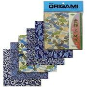 """Origami Paper, Aizome Blue Yuzen, 5.875"""" x 5.875"""", 5pk"""
