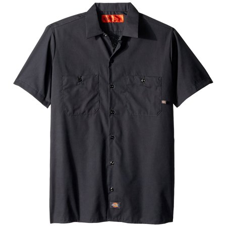 LS535CH M Polyester/ Cotton Men's Short Sleeve Industrial Work Shirt, Medium, Dark Charcoal, Lined two-piece collar with permanent stays and snap closure By Dickies Occupational Workwear Ship from (Shirt Collar Dickie)