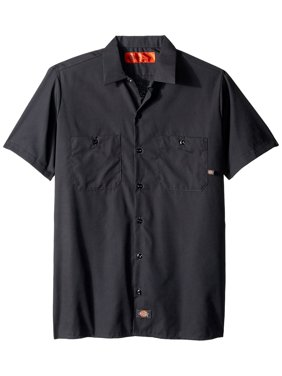 LS535CH M Polyester/ Cotton Men's Short Sleeve Industrial Work Shirt, Medium, Dark Charcoal, Lined two-piece collar with permanent stays and snap closure By Dickies Occupational Workwear Ship from US