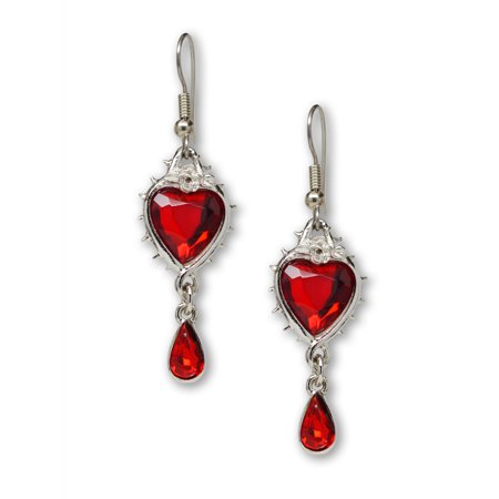 Red Heart and Teardrop Crystals Surrounded by Roses and Thorns Dangle Earrings by Real Metal