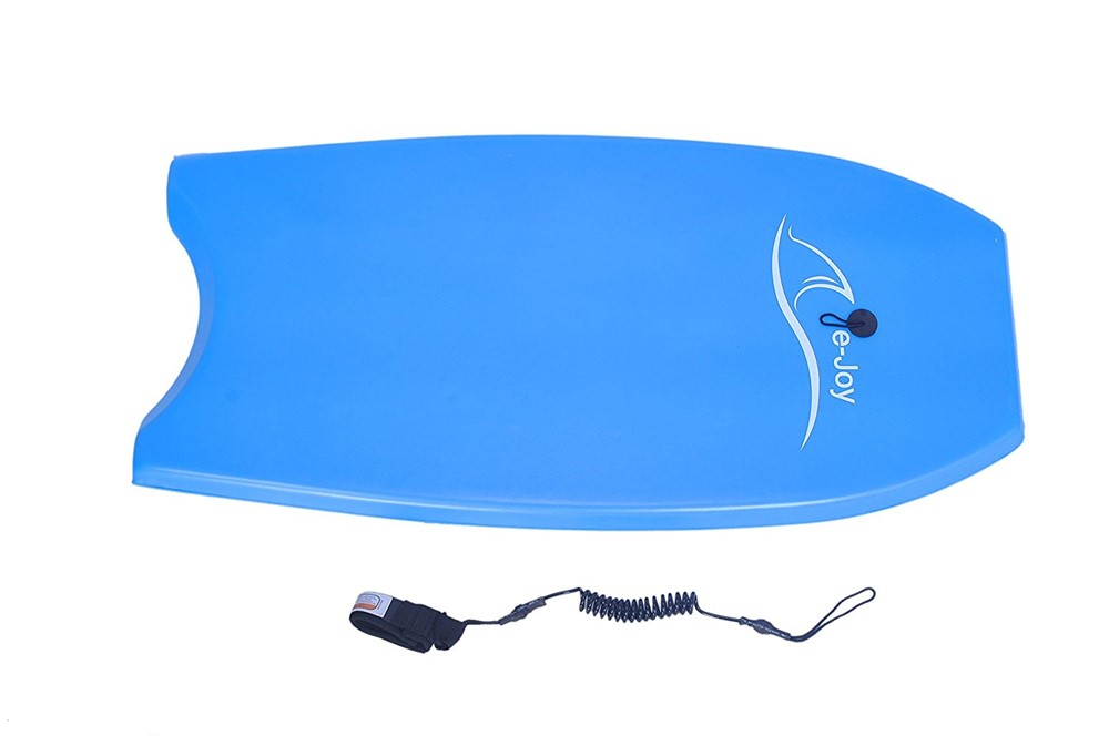 Super Lightweight Body board with Coiled Leash Slick Bottom, Perfect surfing By e-Joy by