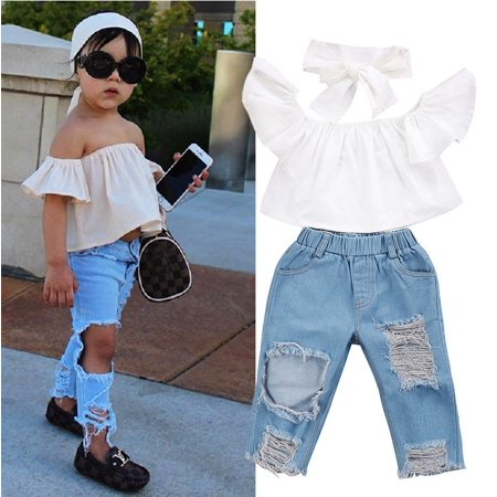 Emmababy - Fashion Toddler Girls Kids Off Shoulder Tops Denim Pants Jeans  3pcs Outfits Set Clothes - Walmart.com 941ae6615