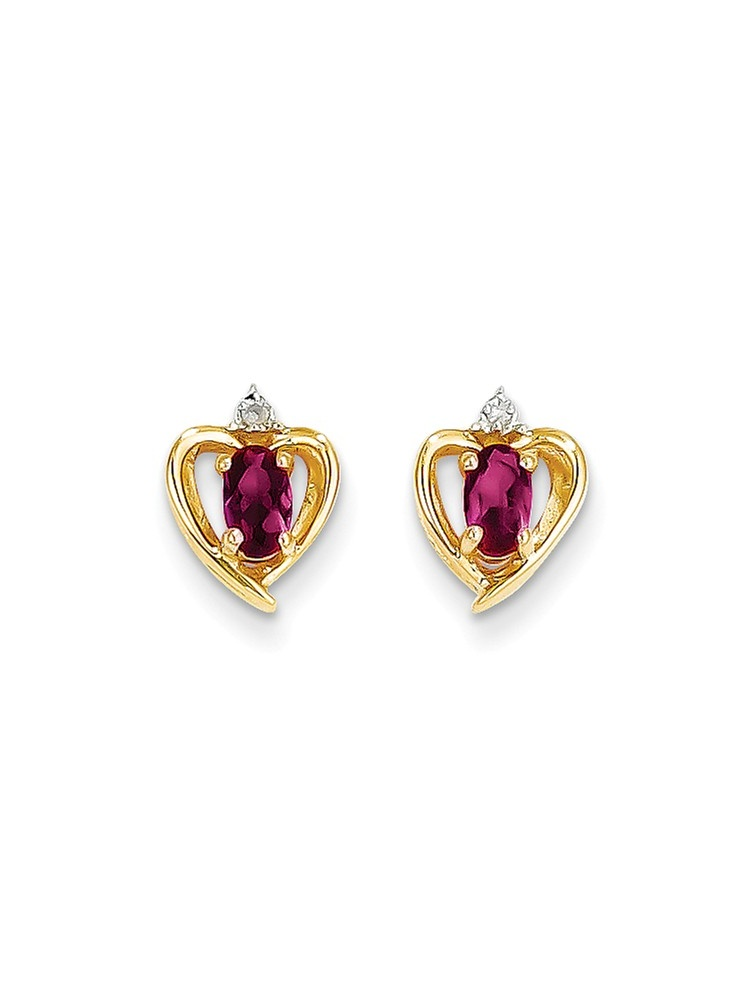 ICE CARATS ICE CARATS 14kt Yellow Gold Diamond Red Ruby Post Stud Ball Button Earrings Birthstone July Love Set Style... by IceCarats Designer Jewelry Gift USA