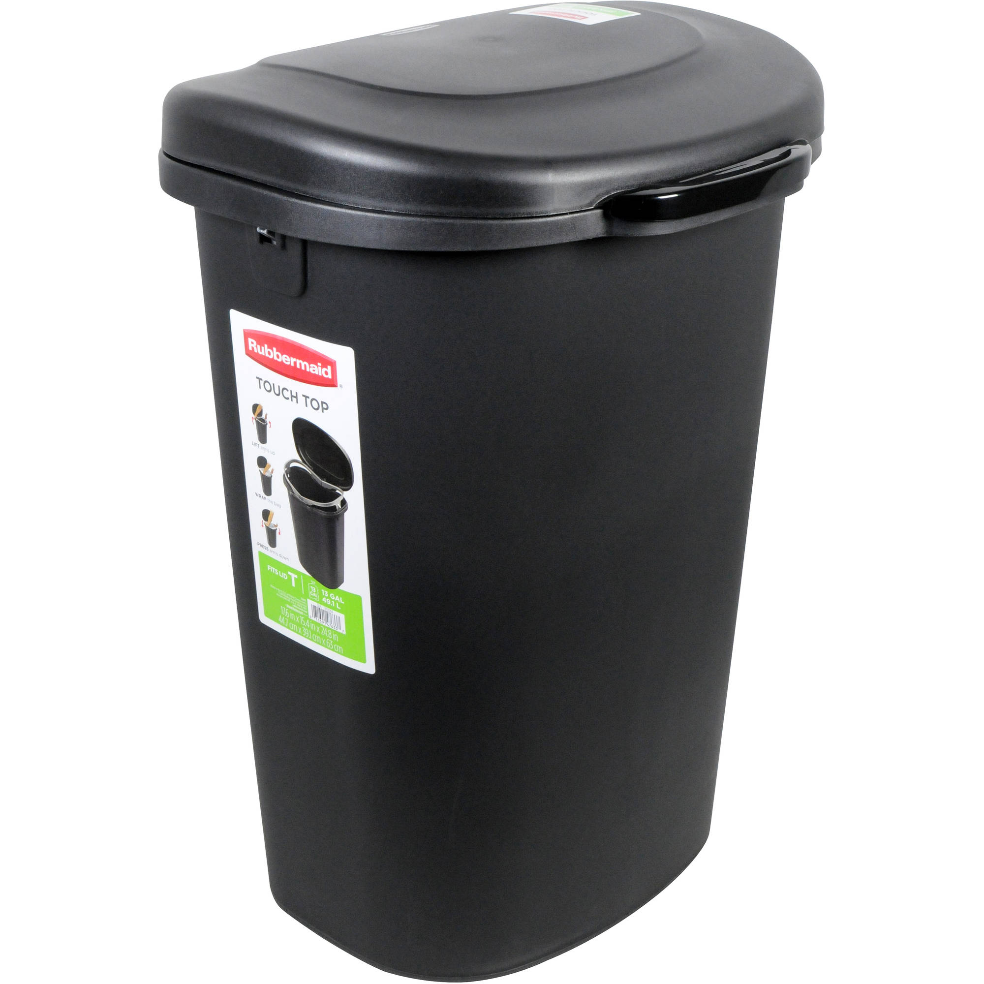 Rubbermaid 13-Gallon Touch Top Waste Bin, Black