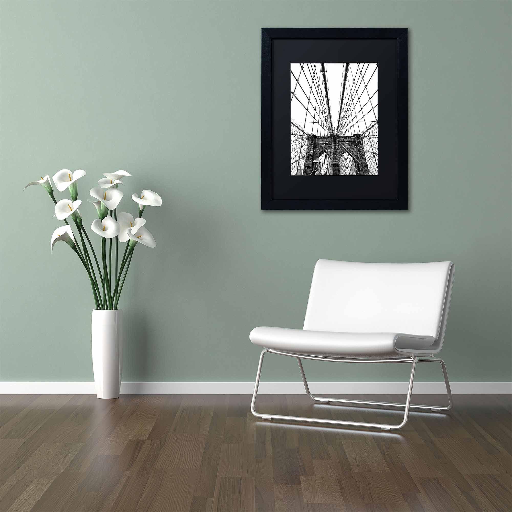 "Trademark Fine Art ""Brooklyn Bridge 3"" Canvas Art by CATeyes, Black Matte, Black Frame"