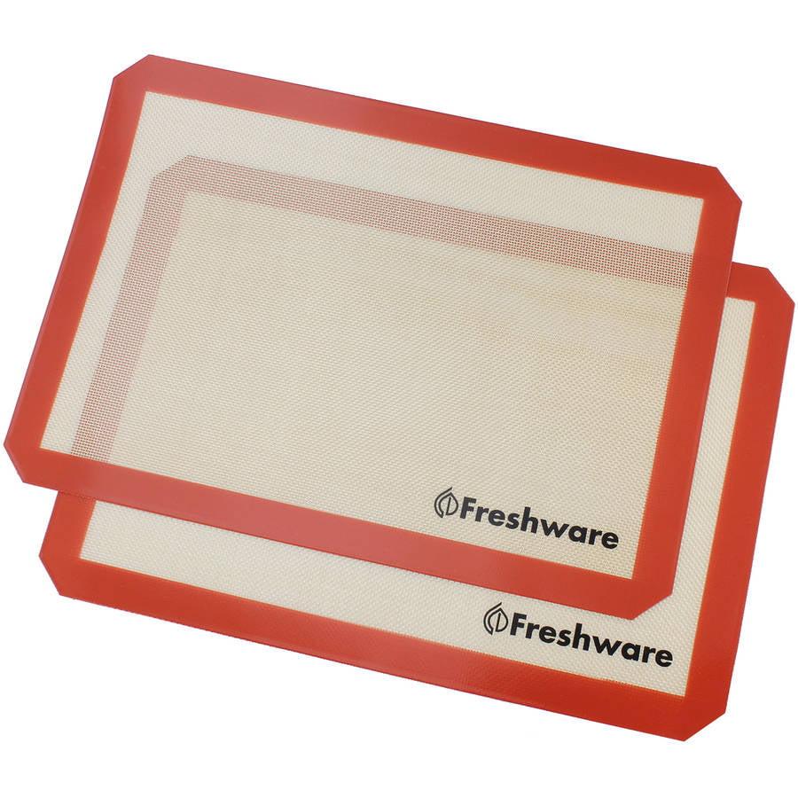Freshware Non-Stick Silicone Baking Mat, Half Size, 2-Pack, BM-102PK