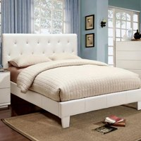 Contemporary Leatherette Padded Tufted Crystal Like Button Platform California King Size Bed European Style White Color Wooden Bedroom Furniutre 1pc Bedframe
