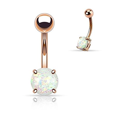 Prong Glitter Synthetic Opal Rose Gold IP Surgical Steel Belly Button Navel Ring - 14GA (Sold Ind.) (White) ()